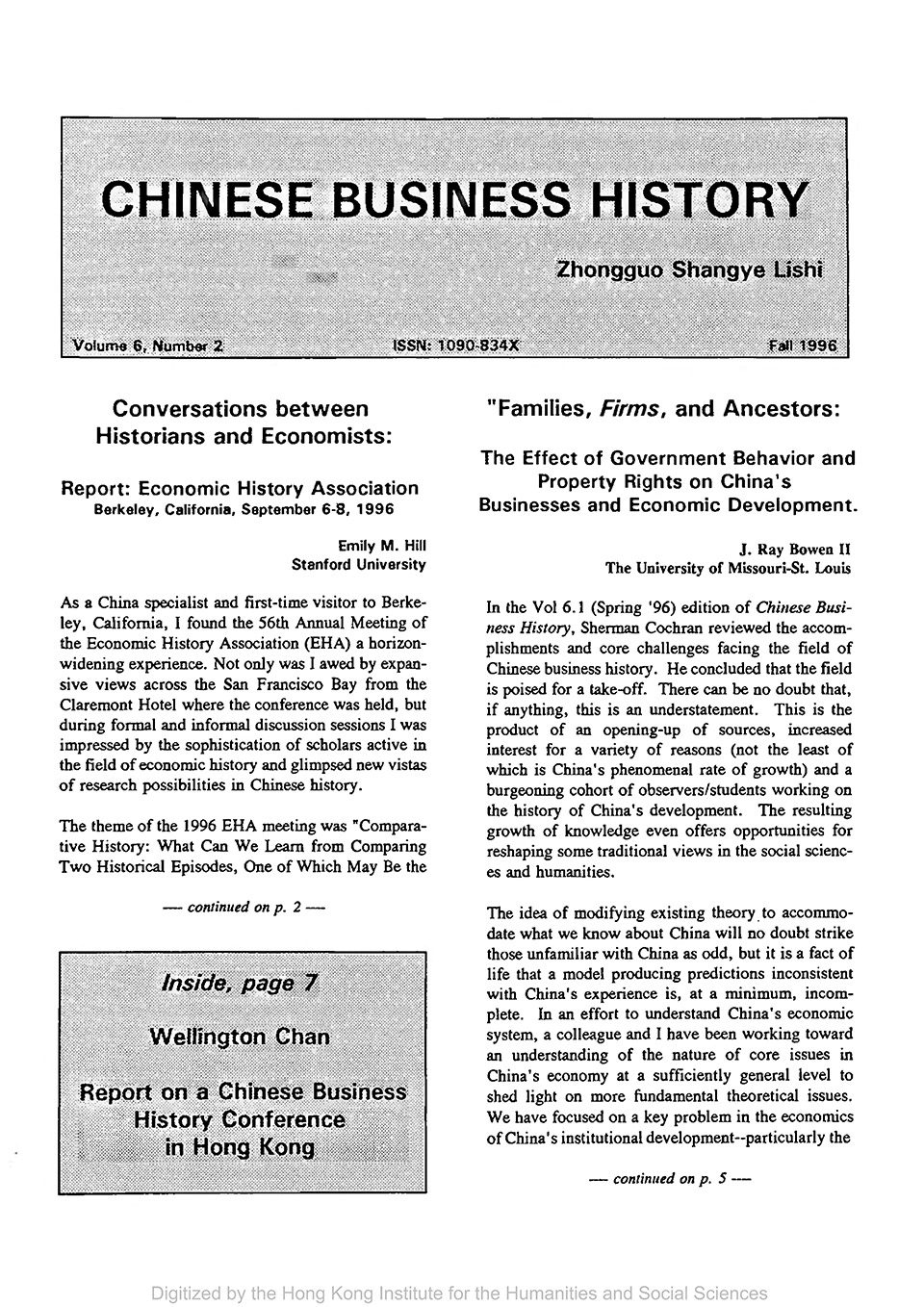 Cover of Chinese Business History Journal Volume 6, Number 2