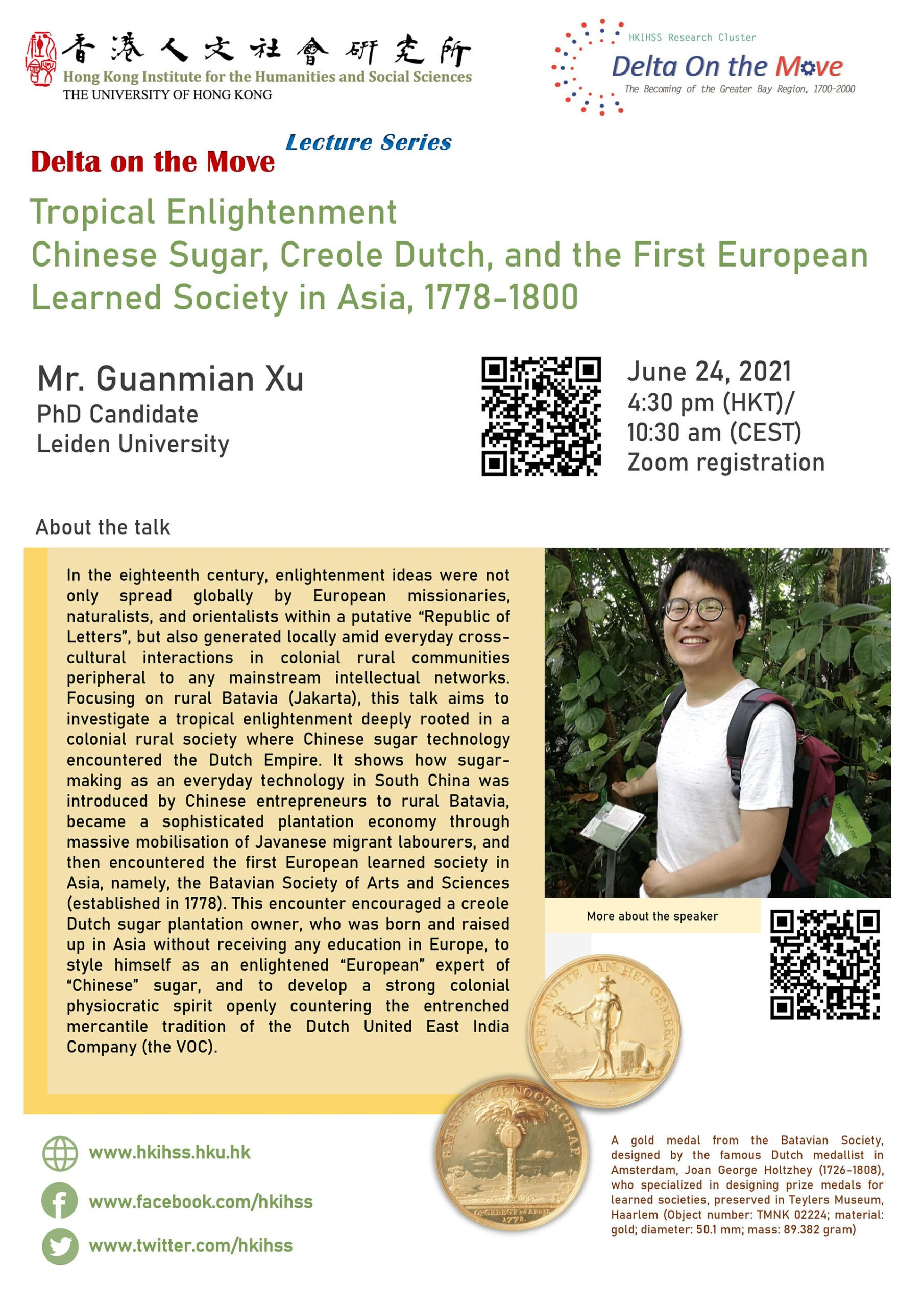 """Delta on the Move Lecture Series """"Tropical Enlightenment: Chinese Sugar, Creole Dutch, and the First European Learned Society in Asia, 1778 - 1800"""