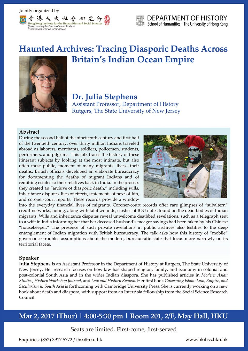 """Haunted Archives: Tracing Diasporic Deaths Across Britain's Indian Ocean Empire"" by Dr. Julia Stephens (March 2, 2017)"