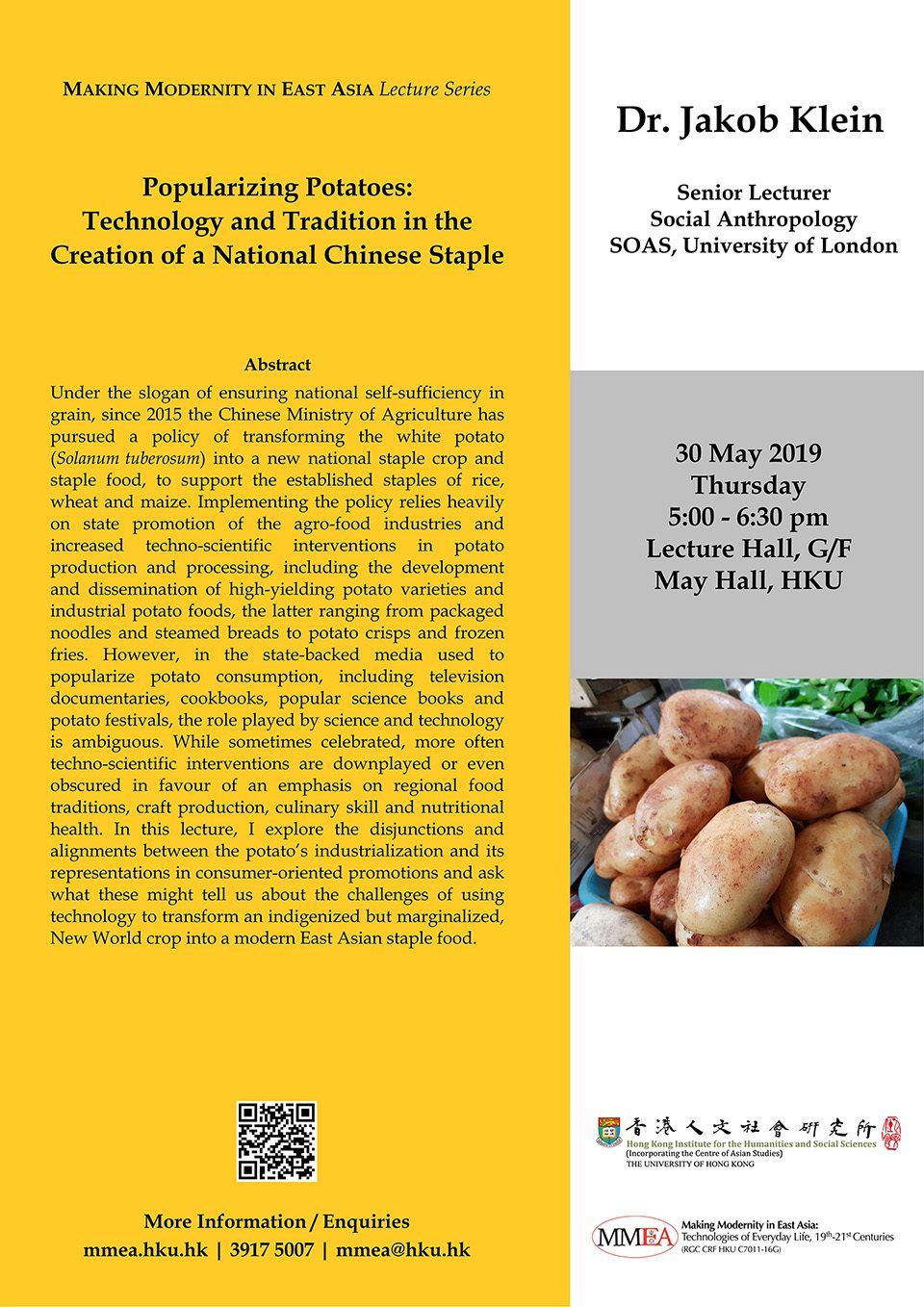 "MMEA Lecture Series ""Popularizing Potatoes: Technology and Tradition in the Creation of a National Chinese Staple"" by Dr. Jakob Klein (May 30, 2019)"