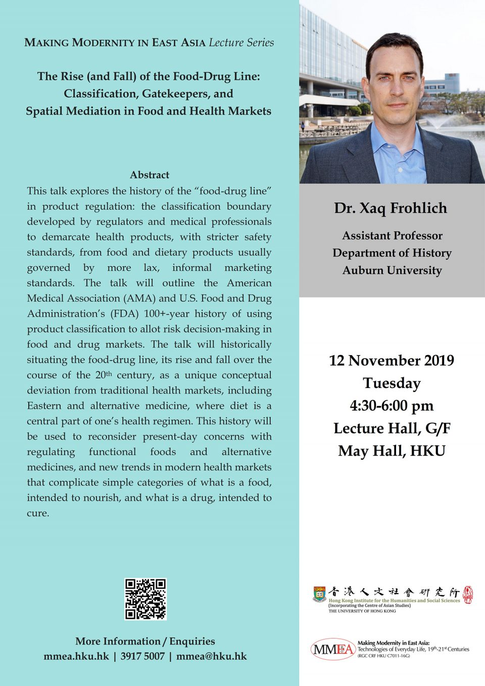 "MMEA Lecture Series ""The Rise (and Fall) of the Food-Drug Line: Classification, Gatekeepers, and Spatial Mediation in Food and Health Markets"" by Dr. Xaq Frohlich (November 12, 2019)"