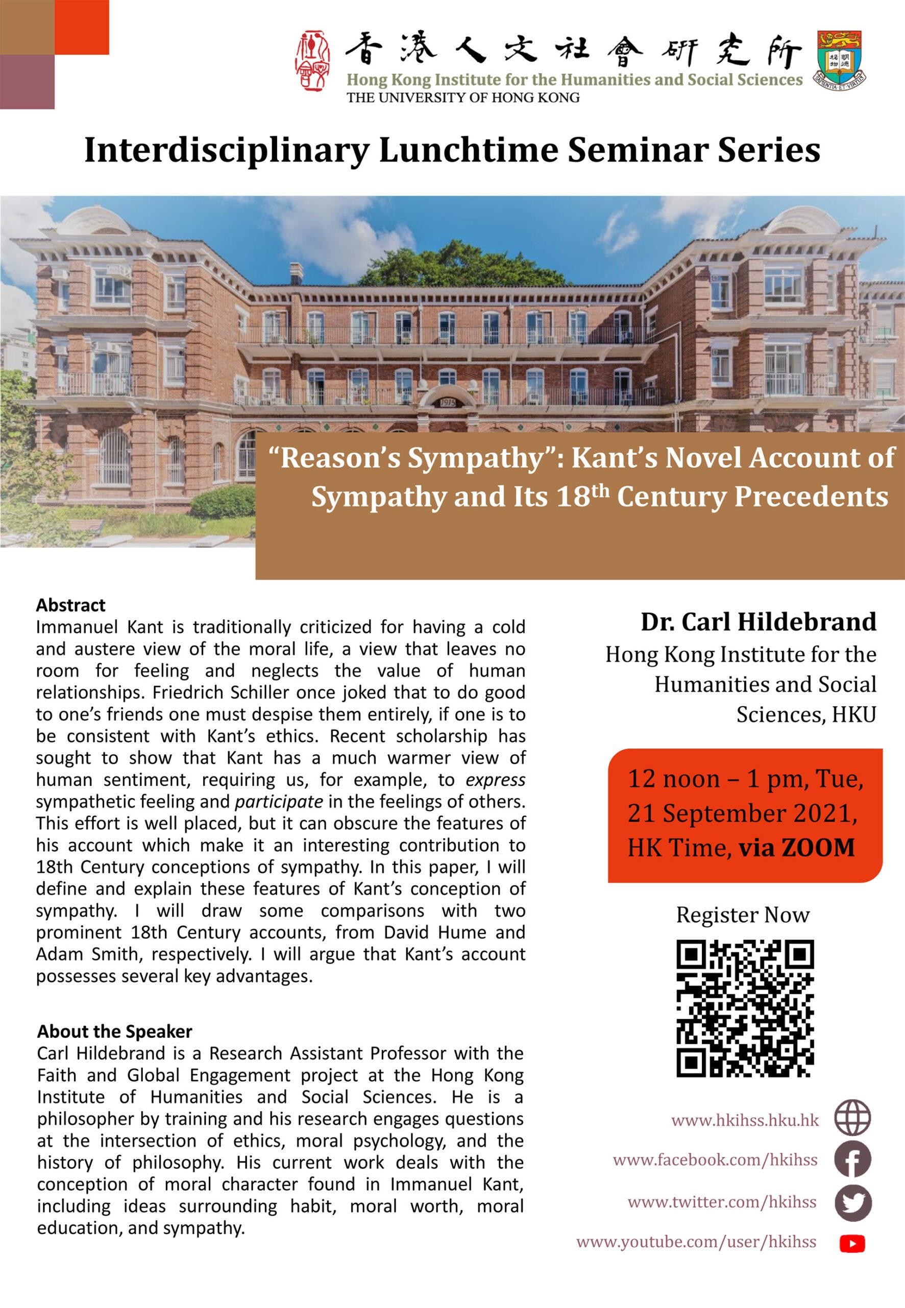 """Interdisciplinary Lunchtime Seminar on """"""""Reason's Sympathy"""": Kant's Novel Account of Sympathy and Its 18th Century Precedents"""" by Dr. Carl Hildebrand (September 21, 2021)"""