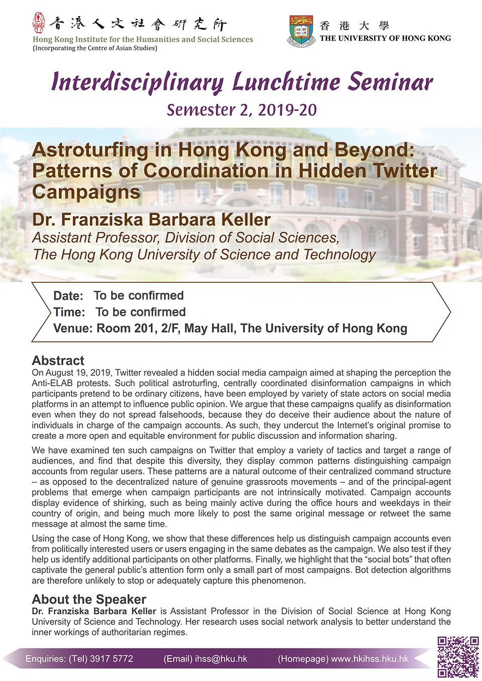 "Interdisciplinary Lunchtime Seminar on ""Astroturfing in Hong Kong and Beyond: Patterns of Coordination in Hidden Twitter Campaigns"" by Dr. Franziska Barbara Keller"