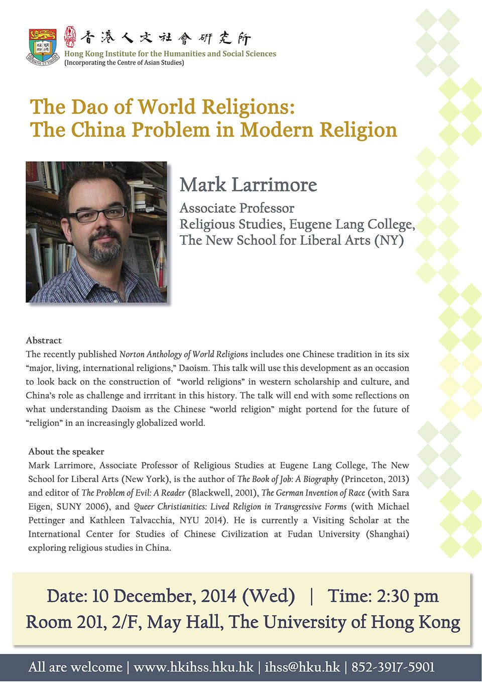 "Seminar on ""The Dao of World Religions: The China Problem in Modern Religion"" by Dr. Mark Larrimore (December 10, 2014)"